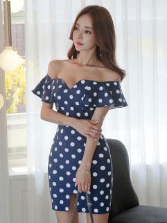 Sexy Off Shoulder Dot Short Dresses