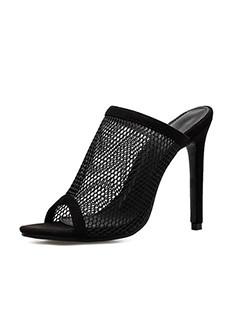Euro Gauze High Heel Sexy Female Slippers