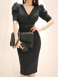 Korean OL Style Striped Bodycon Dresses