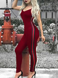 Sexy Spaghetti Strap Striped Jumpsuits