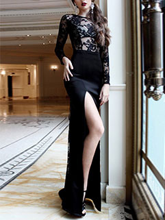 Sexy Lace Patchwork Perspective Slit Floor Dresses