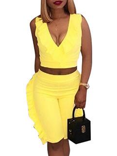 Flounce Sleeveless Solid Summer Women Suits