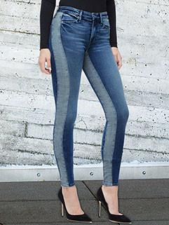 Euro Patchwork Elasticized Casual Pencil Jeans