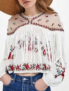 Vintage Style Tassel Embroidery Smock Blouse