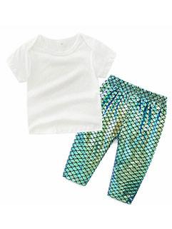 Summer White T-Shirt Solid Pants Children Sets