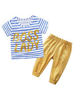 Fashion Letter Striped T-Shirt Children Sets