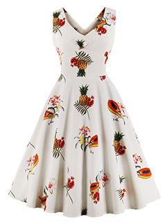 Fashion Fruit Printing Sleeveless Dresses