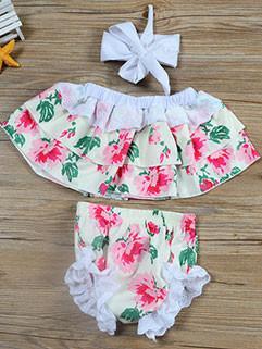 Fashion Floral Lace Off Shoulder Girls Set