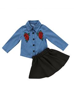 Euro Embroidery Spread Collar Children Sets