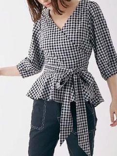 British Style Bowknot V-Neck Plaid Blouse