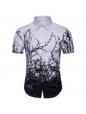 Stylish Branches Printing Short Sleeve Shirts