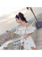 Korean Style Off Shoulder High Waist Mini Dress