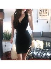 Night Club Hollow Out Silt Sleeveless Bodycon Dress