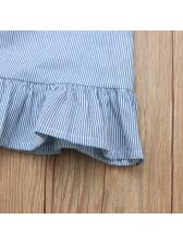 Crew Neck Ruffles Hem Tassel Striped Dress