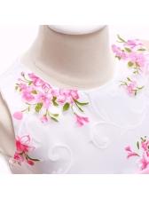 Sleeveless Rose Printing Bow-tie Party Dress