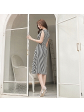 Fashion Striped O Neck Sleeveless Dresses