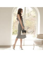Fashion Striped O Neck Sleeveless Dresses
