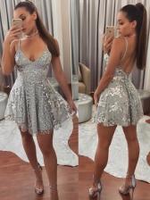 V Neck Applique Spaghetti Strap Short Dresses