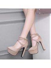 Elegant Women Cross Buckled High Heel Platform