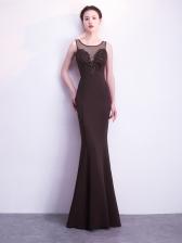 Korean Perspective Sleeveless Floor Dresses