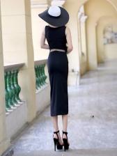 Sexy Bodycon Patchwork Slit Sleeveless Dresses
