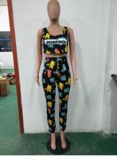 Fashion Cartoon Printing Women Suit