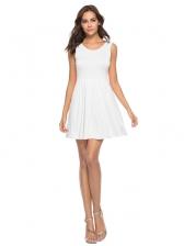 Solid Fresh Sleeveless Short Dresses