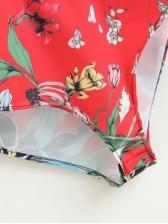 National V-neck Short Sleeve Floral Bodysuit(3-4 Days Delivery)