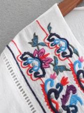 Vintage V-neck Lantern Sleeve Embroidered Blouses