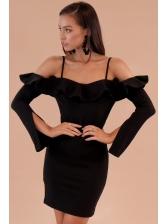 Off Shoulder Flounce Wrap Short Dresses