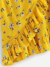 Euro Sexy Deep V Neck Flounce Floral Dresses