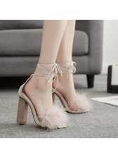 Euro Lapin Lace Up Wooden Heel Sandals