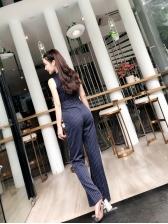 Office Lady V Neck  Wide Leg Striped Jumpsuit