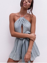 Euro Halter Solid Backless Playsuit