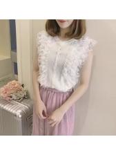 Fashion Sleeveless Lace Solid Tanks