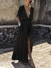 Deep V Neck Slit Maxi Dresses