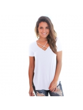 Euro Crossover V Neck Solid Casual T-shirt