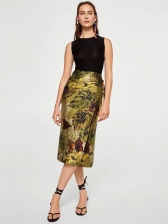 Euro Style Wrap Printed Long Skirt(3-4 Days Delivery)