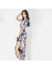Chic V Neck Printing Ruffled Slit Long Dresses
