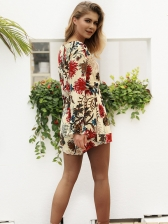 Sexy Deep V Neck Flare Sleeve Floral Romper
