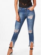 Stylish Beading Bodycon Ripped Denim Pants