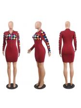 Hot Sale V-Neck Plaid Long Sleeve Dress