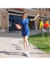 Summer Solid O Neck Bodycon Short Sleeve Dresses