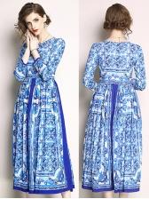 Elegant O Neck Printed Long Sleeve Maxi Dresses