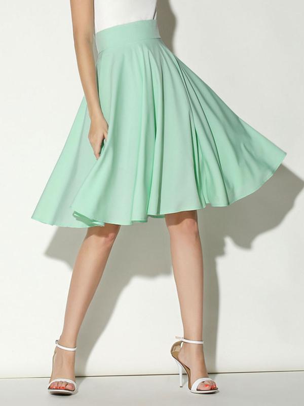 Simple Design Elastic Waist Solid Pleated Skirt