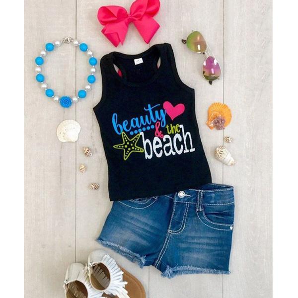 Fashion Sleeveless Printed Girls Sets