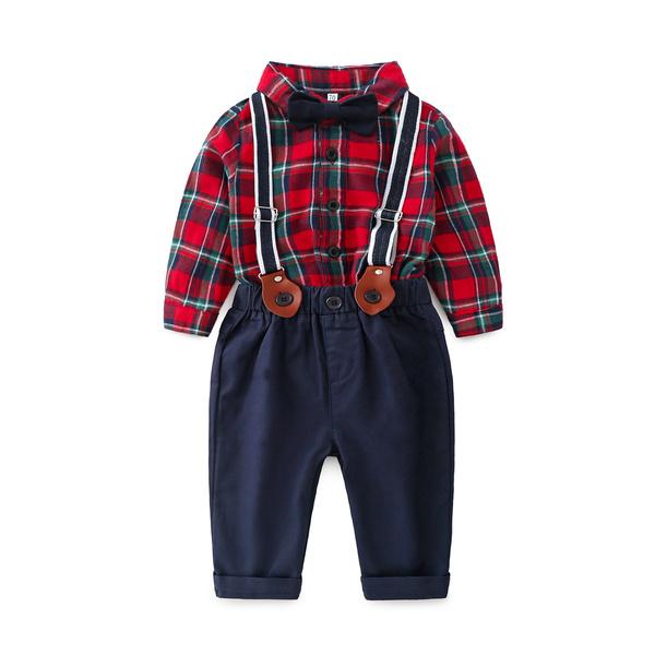 Fashion Plaid Long Sleeve Baby Boy Suits