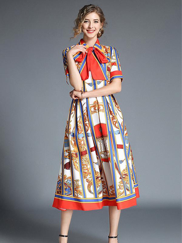 Retro Striped Printing Polo Neck Dresses