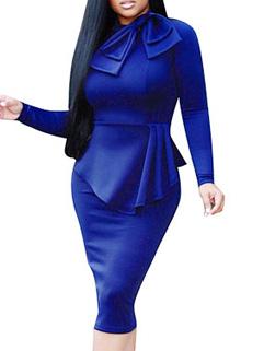 Fashion OL Solid Asymmetrical Working Bodycon Dress