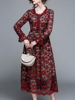 Chic Lace Smart Waist Floral Elegant Dress